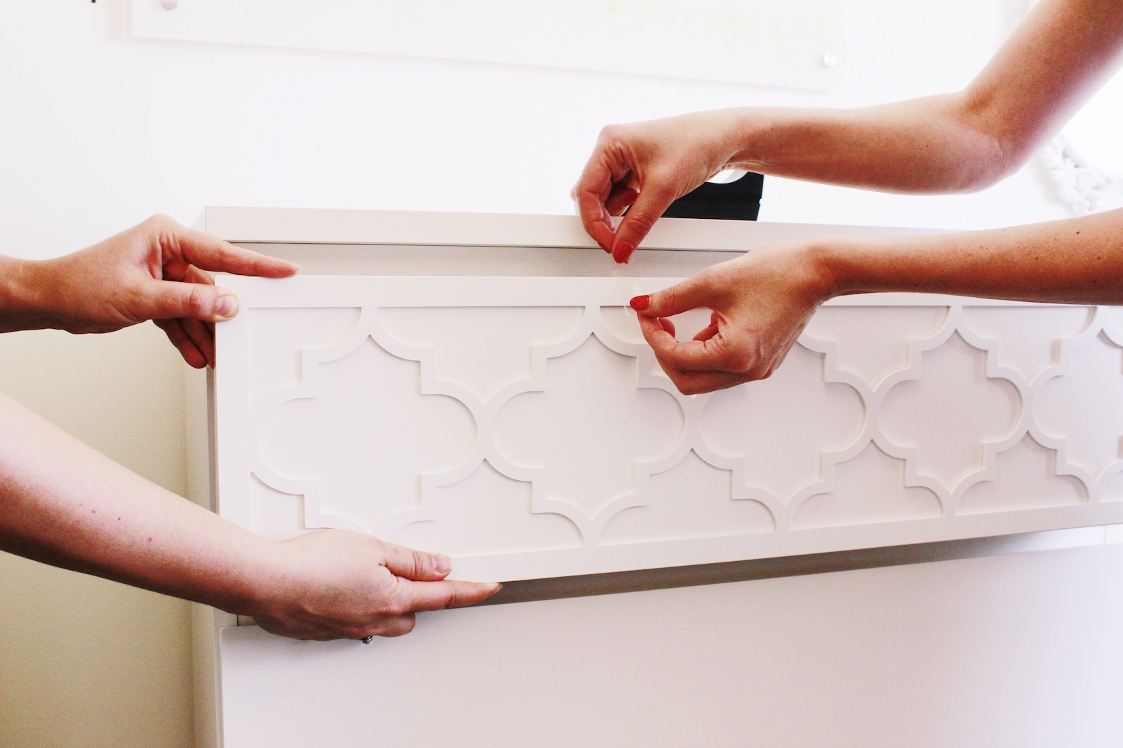 DIY Ikea Dresser Hack | Adhere Panels and Use Tape While Adhesive Dries