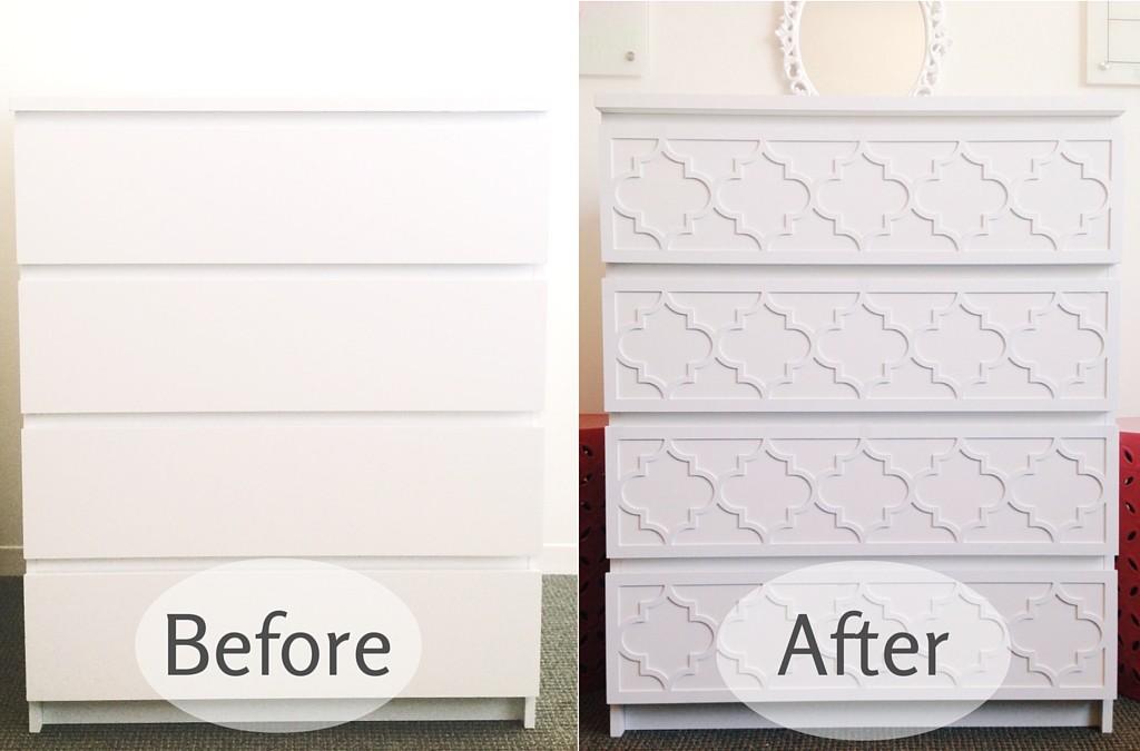 O'verlays Before and After DIY Ikea Dresser Hack