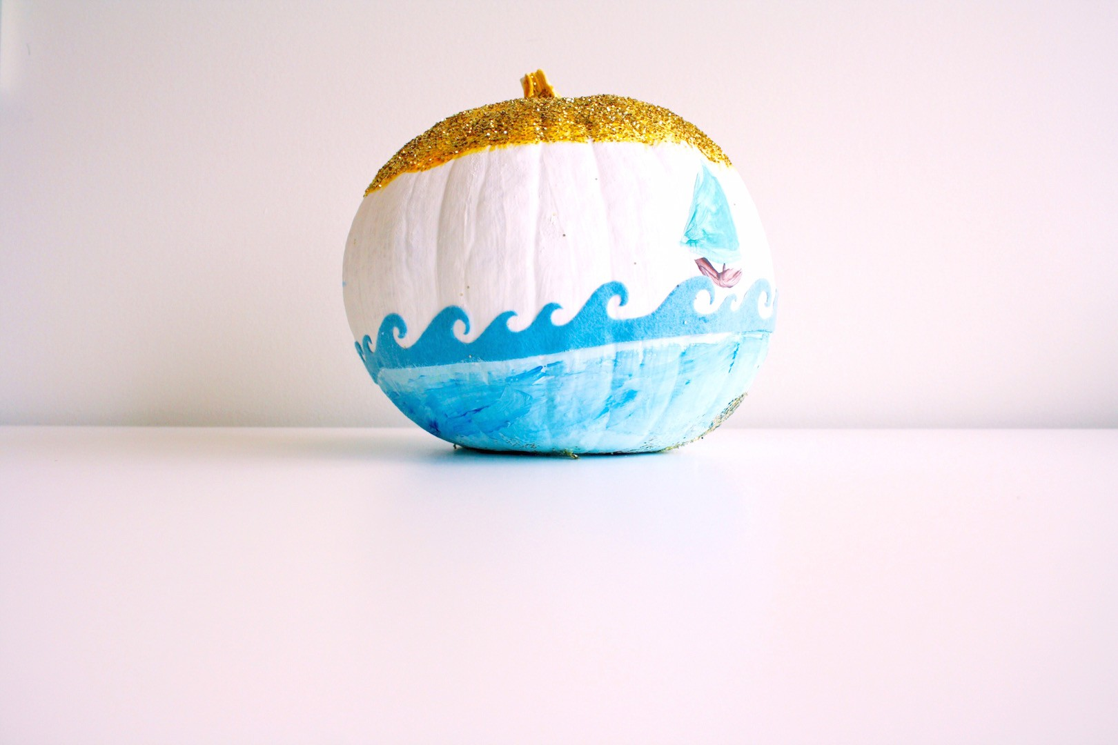 Seaside Theme Painted Pumpkin