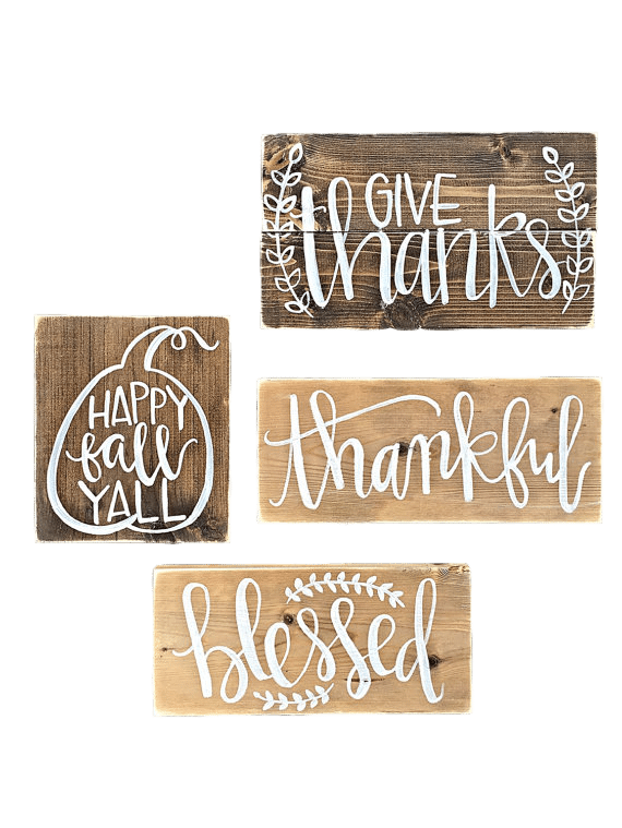 Apartminty Fresh Picks | Fall Favorites | Set of 4 Wooden Fall Signs From Etsy
