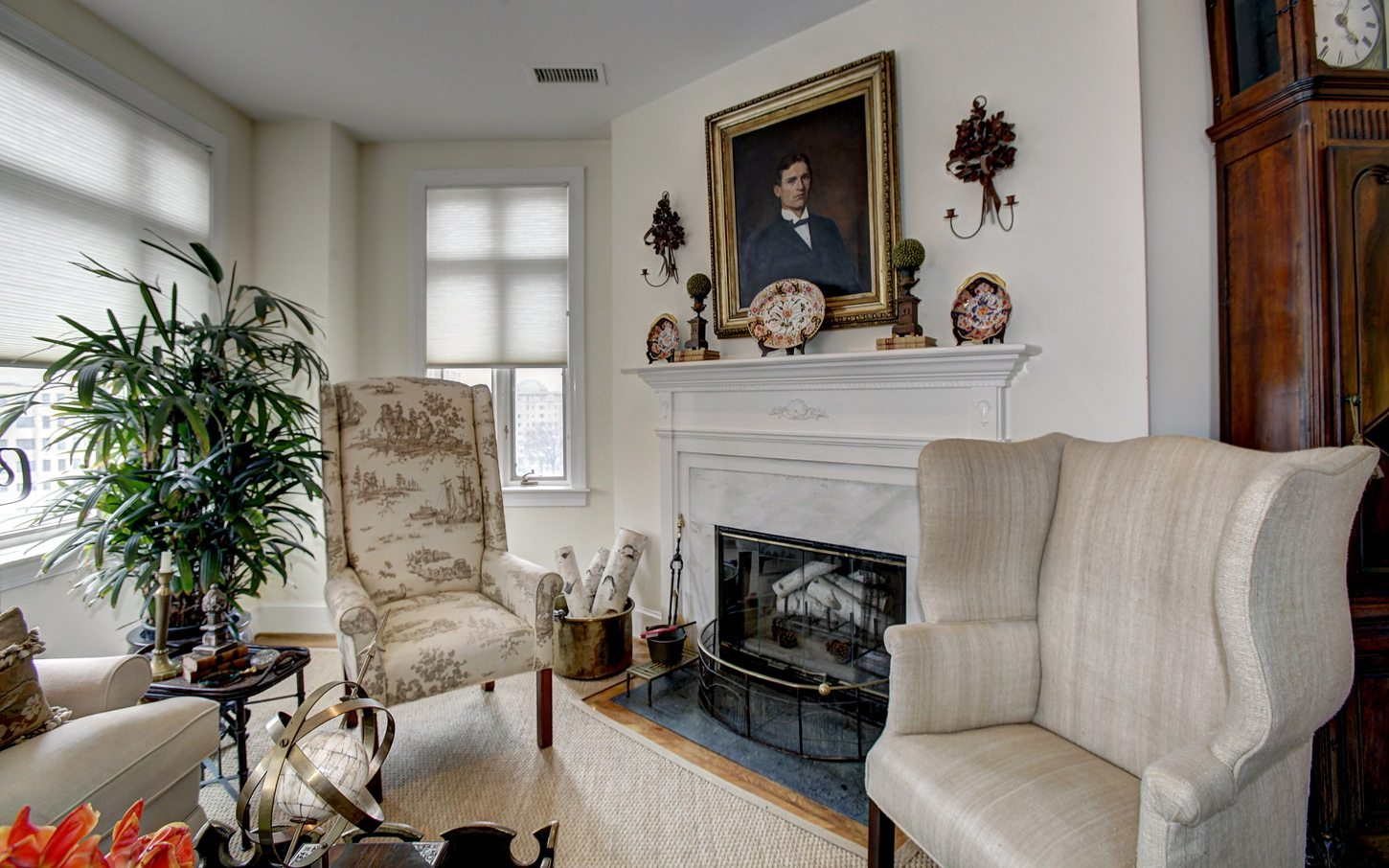 Luxury Apartments in Washington, DC | 2401 Pennsylvania Ave Residences | Den with Wood Burning Fireplace