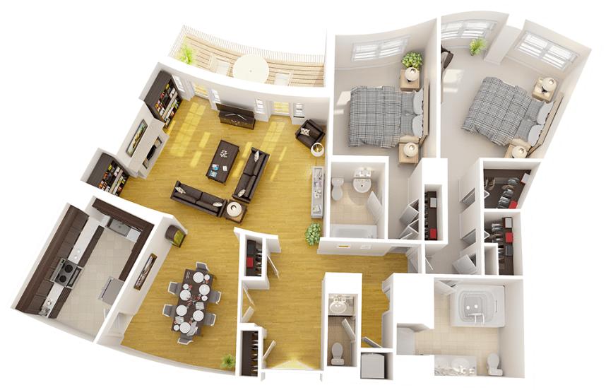 2401 Pennsylvania Ave Apartments in Washington DC | Luxury 2 Bedroom Floorplan