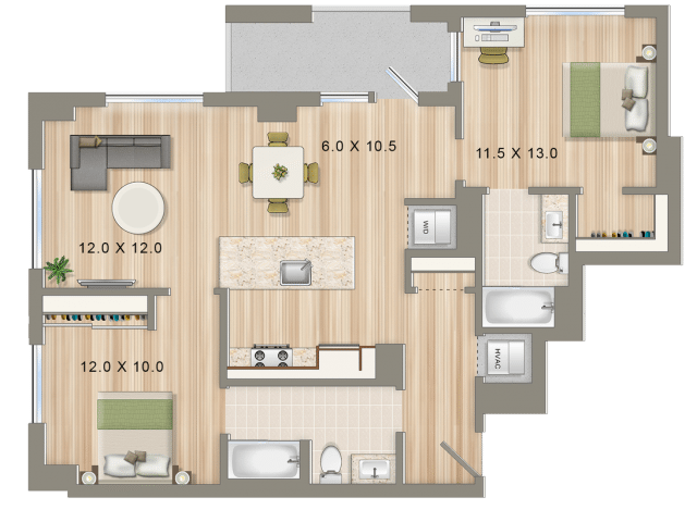 Park Chelsea Apartments in Washington DC | 2 Bedroom Floorplan