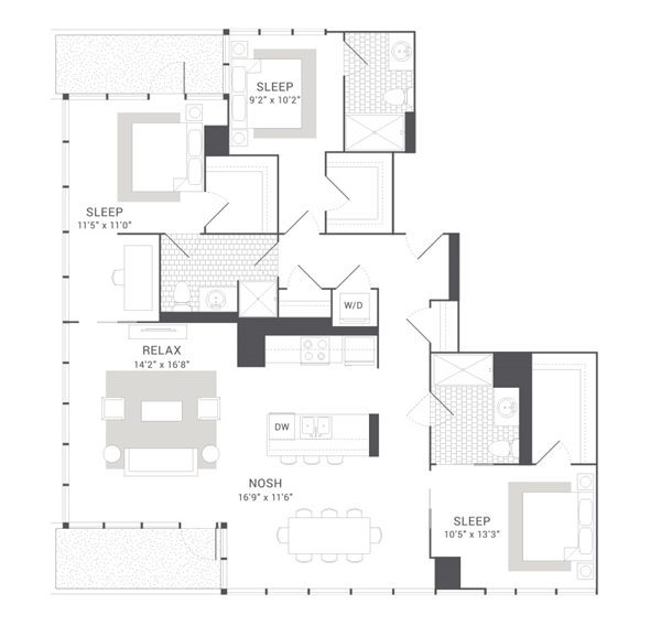 kenect apartments chicago penthouse floorplan - Luxury Penthouse Floor Plans