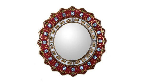 Apartminty Fresh Picks: Bohemian Chic Apartment Decor   Novica Red Reverse Painted Round Mirror