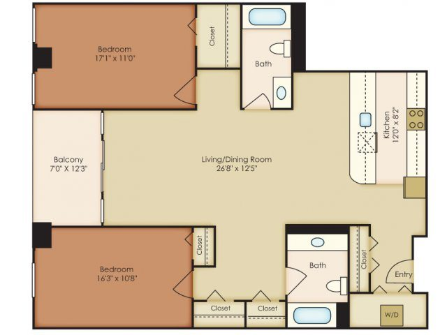 bedroom floorplan 222 saratoga apartments in baltimore md