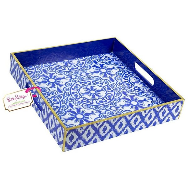 "Apartminty Fresh Picks | Trays For Controlling Clutter | Lilly Pulitzer ""Pooling Around"" Blue Lacquer Tray"