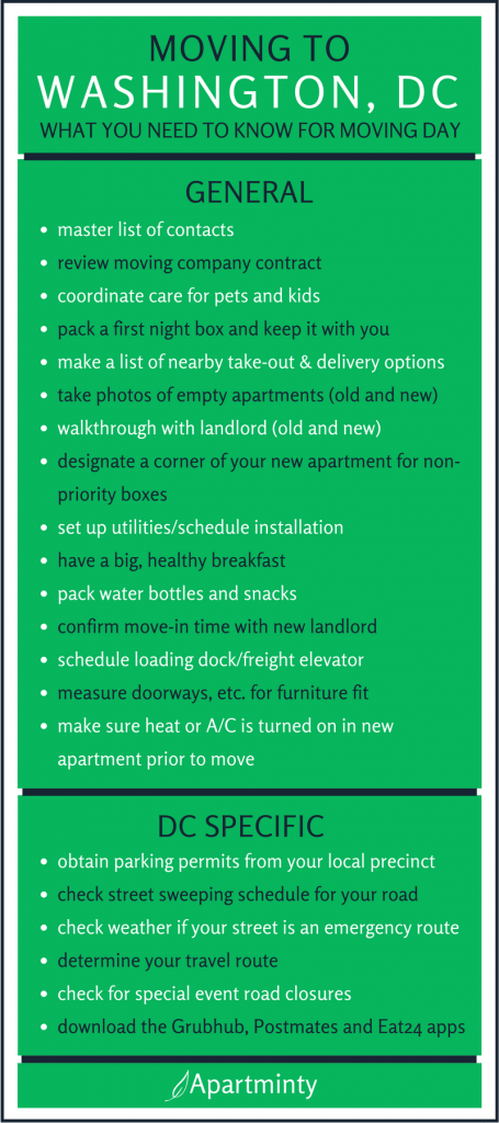 Moving To Dc The Checklist You Need For Moving Day Apartminty