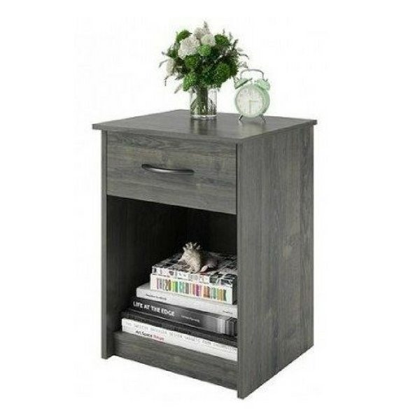 Apartment Furniture For Small Spaces | Furniture With Storage | Pair Of Gray Bedside Tables