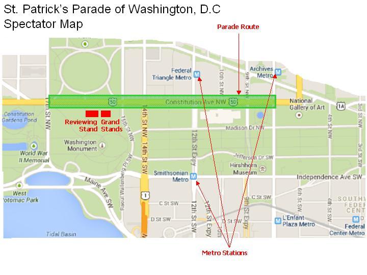 Washington, DC 2017 St. Patrick's Day Parade Route
