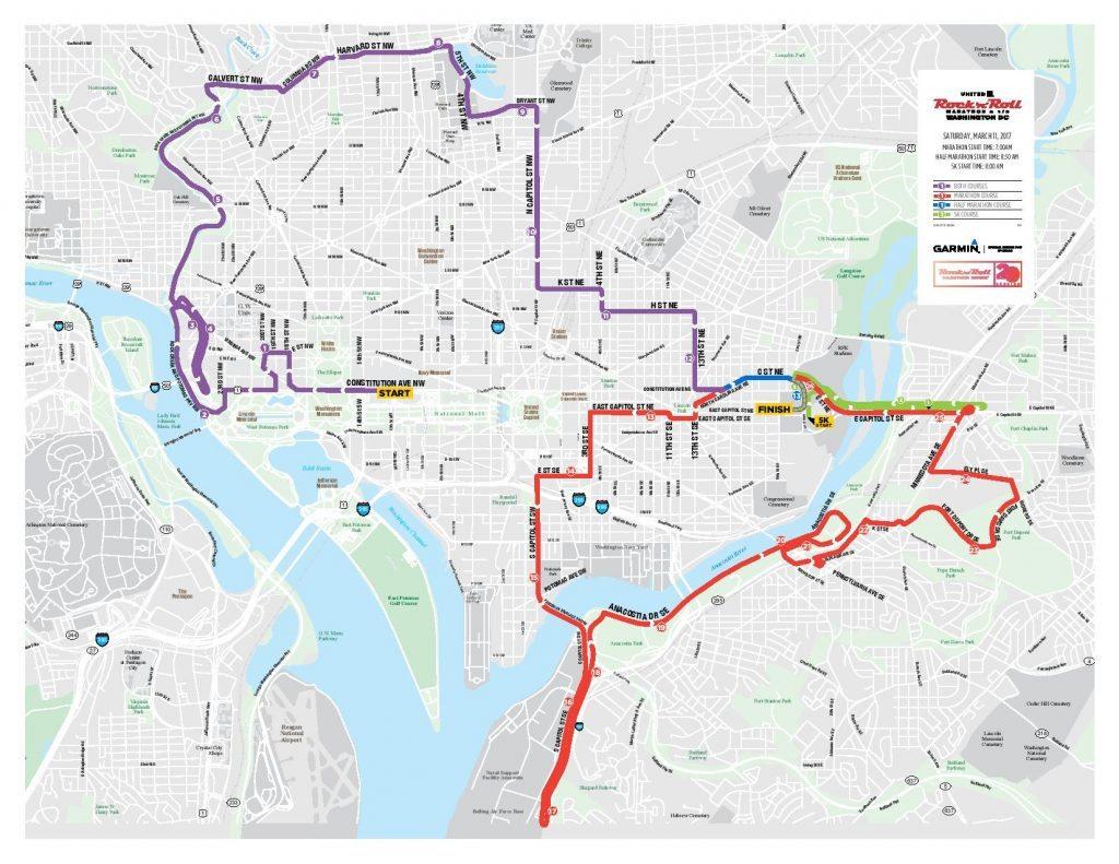 Rock 'n' Roll Marathon 2017 DC Road Closures & Route Map