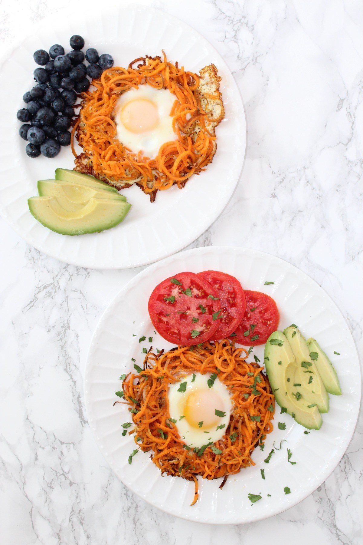 KitchenAid Spiralizer | Spiralized Sweet Potato Egg In A Hole