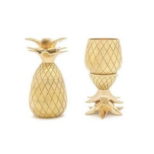 Summer Bar Cart Items | Golden Pineapple Shot Glasses