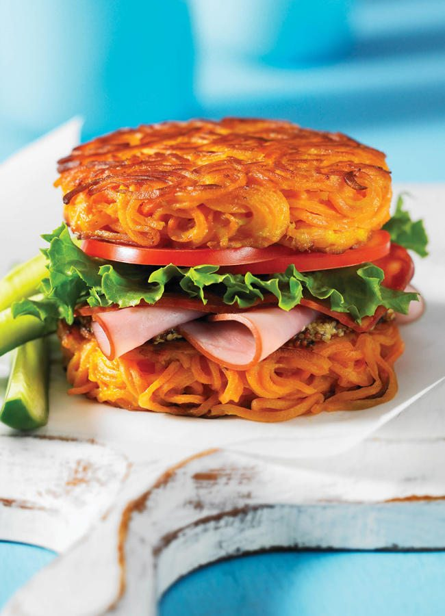 KitchenAid Spiralizer | Spiralized Sweet Potato Bun