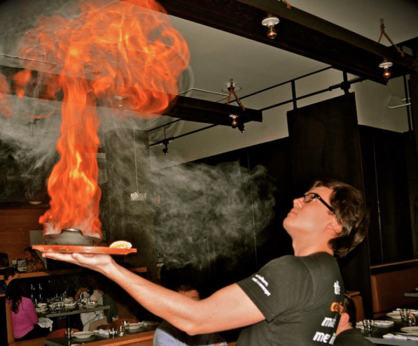 National Cheese Day In DC | Saganaki Flaming Cheese From Cava Mezze