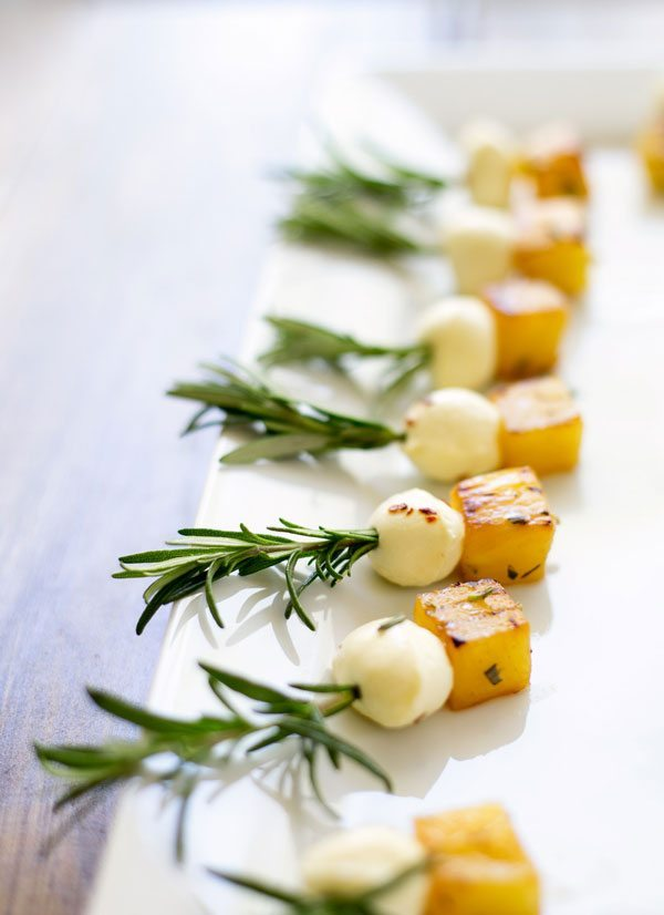 Summer Recipes Using Fresh Herbs | Pineapple & Bocconcini on Rosemary Skewers