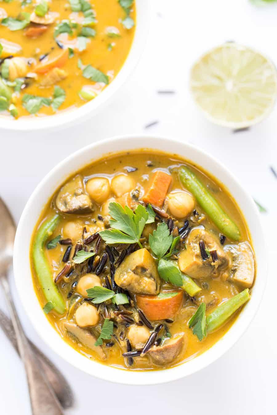 Holiday Detox Recipes | Creamy Coconut Turmeric Wild Rice & Veggie Soup