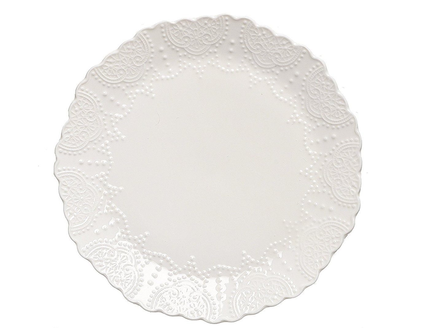 Thanksgiving Tablescape   Entertaining In Your Apartment   Scalloped Embossed White Dinner Plates