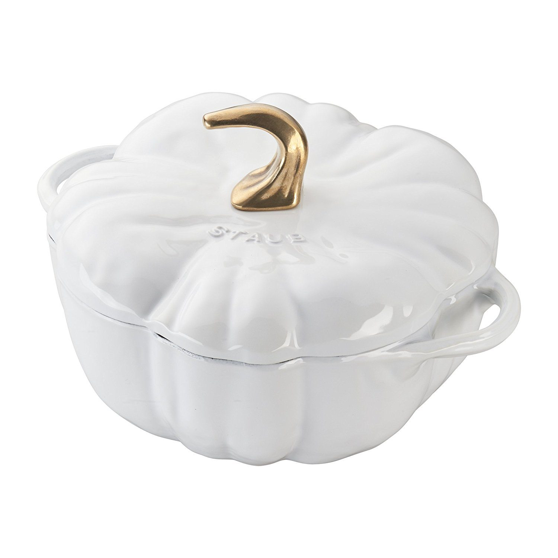 Thanksgiving Tablescape   Entertaining In Your Apartment   Staub Cast Iron 3.5-qt White Pumpkin Cocotte