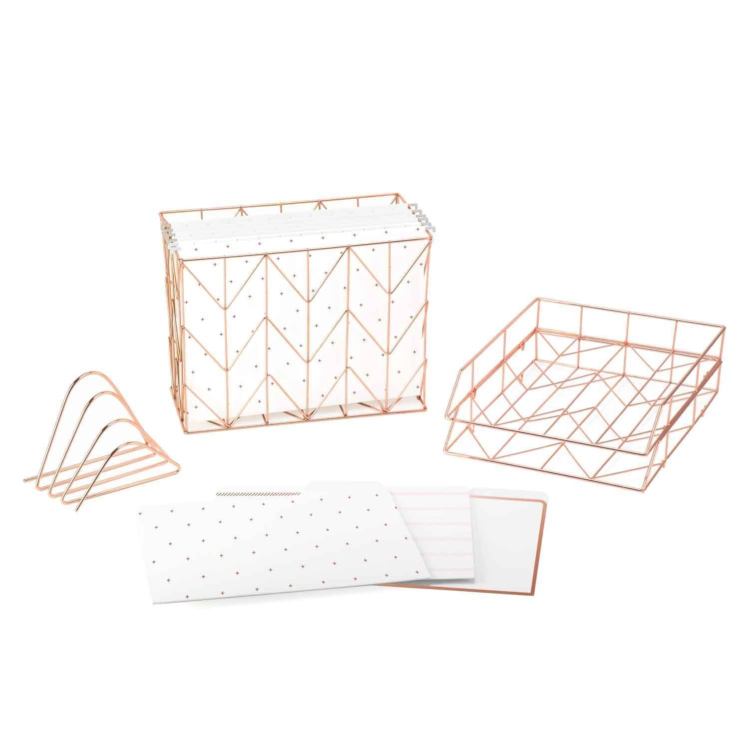 Desk Accessories | Rose Gold Desktop Filing Set