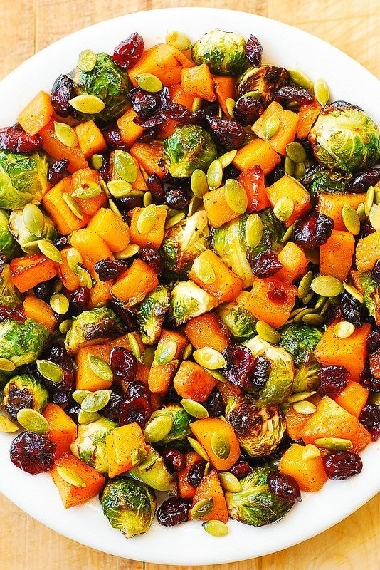 Easy Side Dishes | Maple Roasted Butternut Squash and Brussels Sprouts