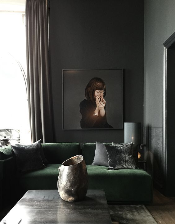 Winter Blues | Dark, Moody Decor | Green Velvet & Grey Living Room Inspiration