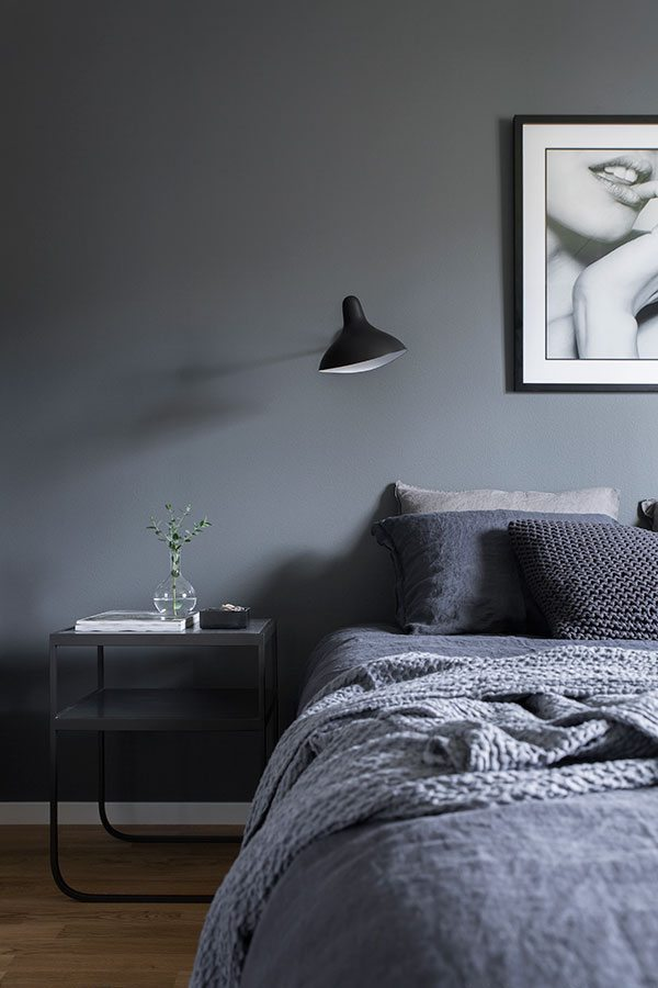 Winter Blues | Dark, Moody Decor | Tone on Tone Grey Bedroom Inspiration