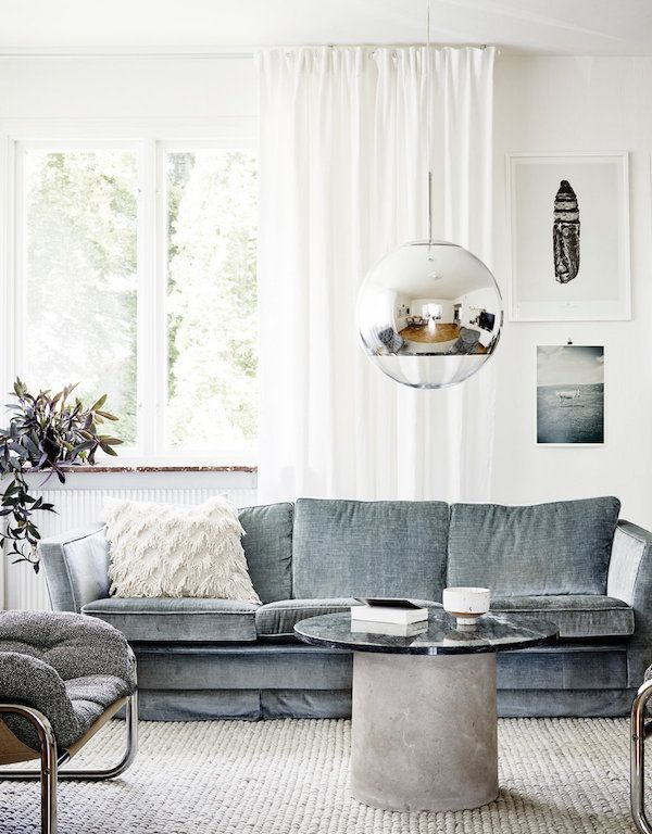 Winter Blues Decor | Design Inspiration | White and Blue Living Room