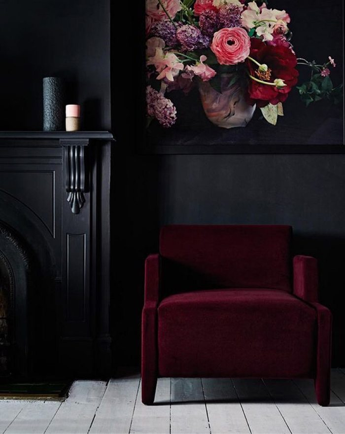 Winter Blues | Dark, Moody Decor | Red Velvet and Black