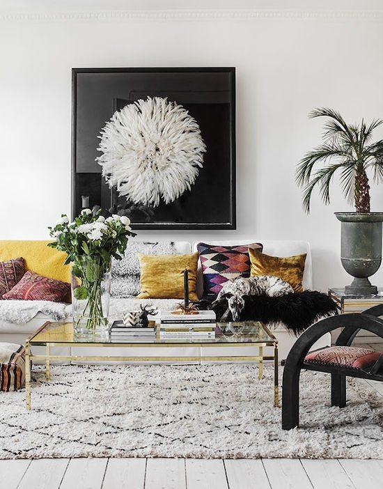 Velvet Decor | Design Inspiration | Bohemian Mustard Yellow Gold Velvet Throw Pillows