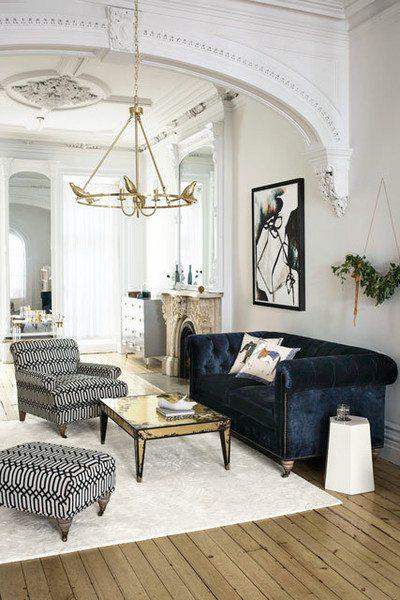 Velvet Decor | Design Inspiration | Velvet Blue Tufted Couch