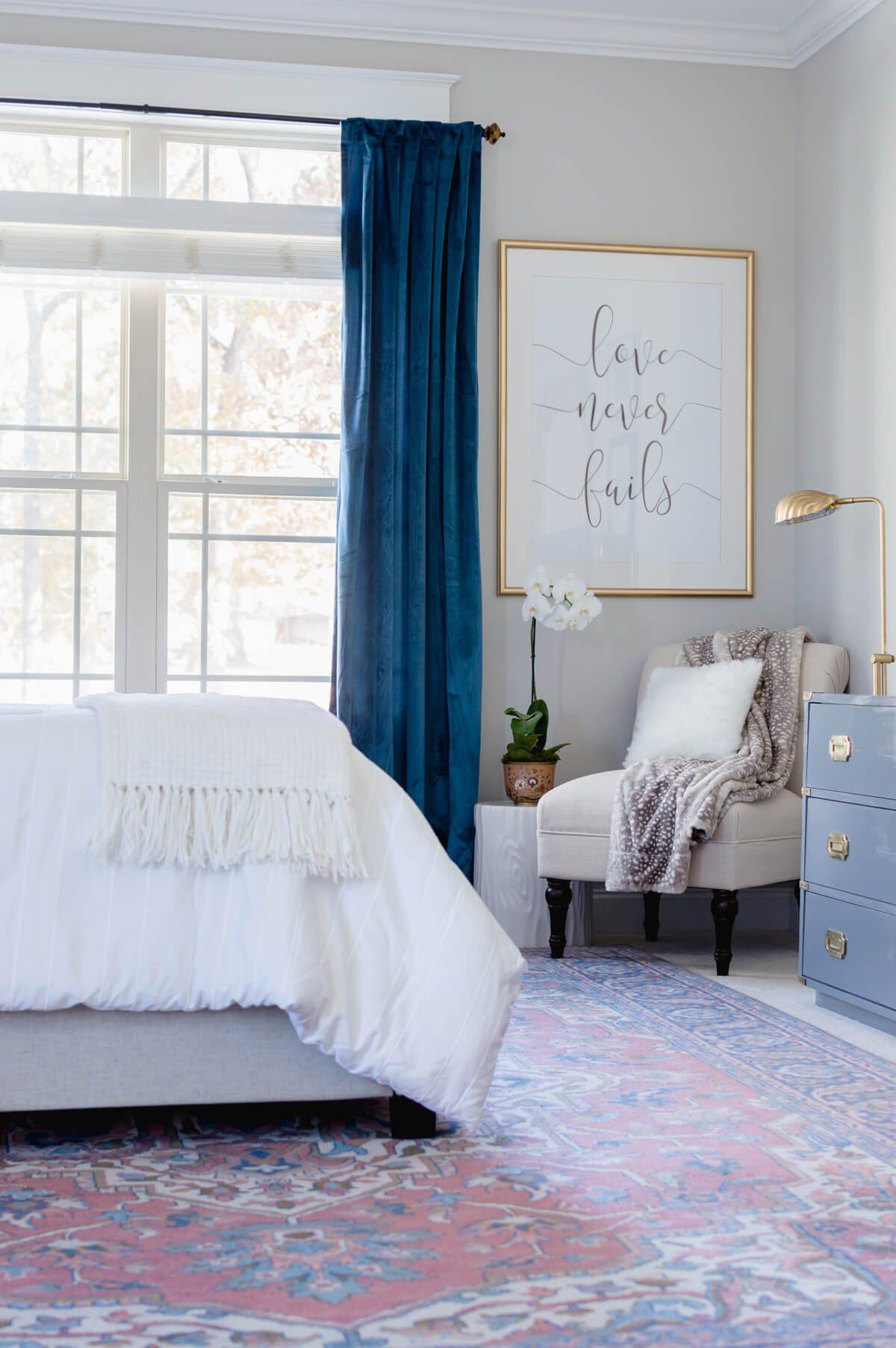 Velvet Decor | Design Inspiration | Blue Velvet Bedroom Curtains