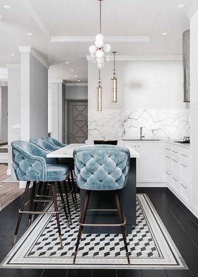 Velvet Decor | Design Inspiration | Baby Blue Velvet Upholstered Bar Stools
