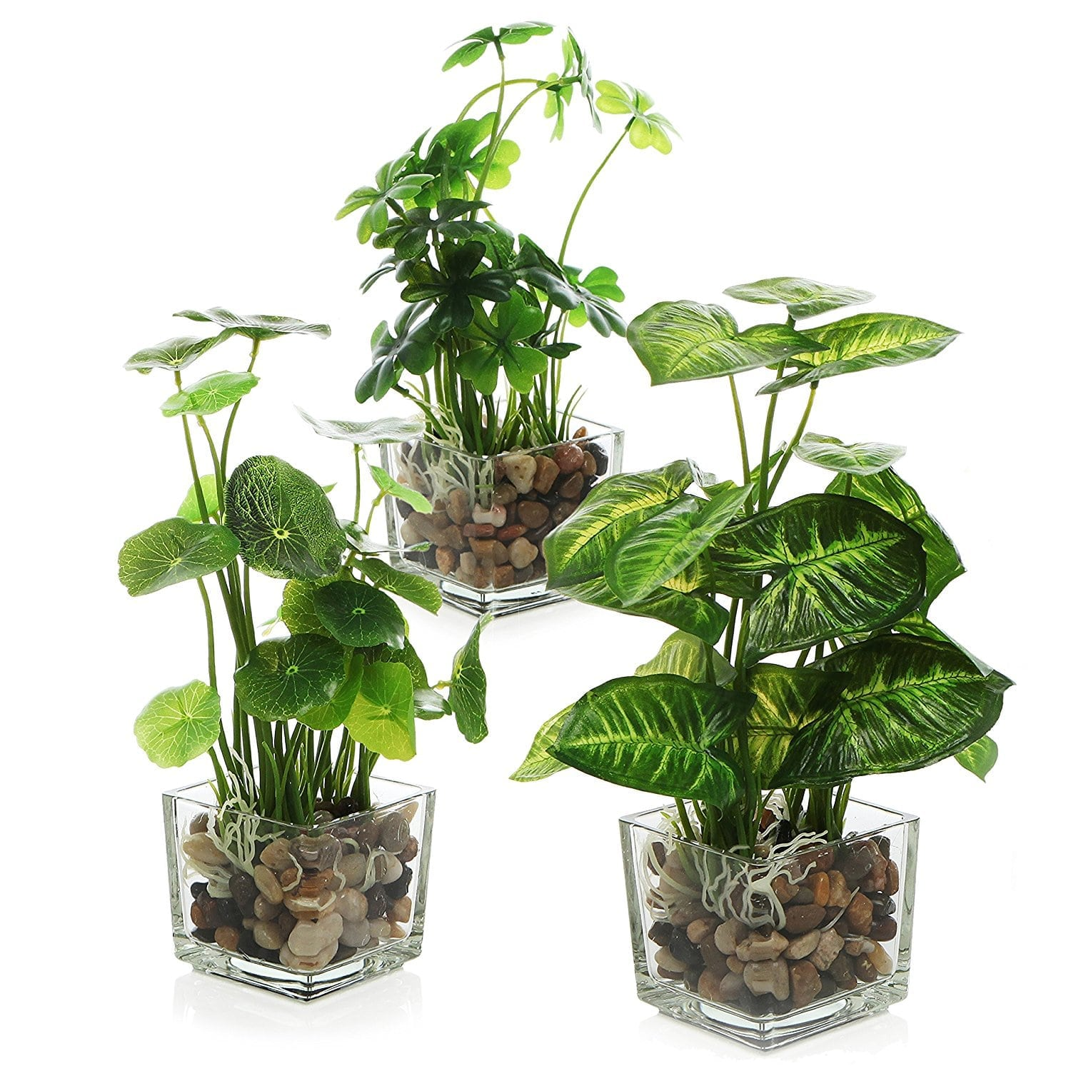 Decorating With Faux Plants   Faux Tabletop Plants In Glass Pots