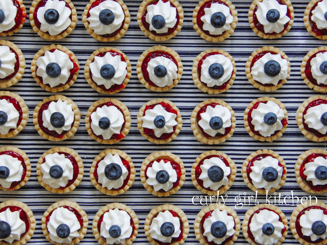 Fourth of July BBQ Recipes | Red, White and Blue Cherry Pie Tartlets