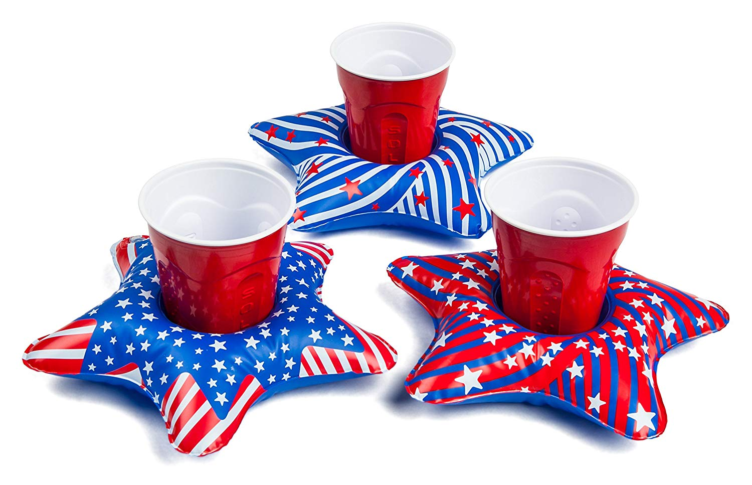 Fourth of July Red, White & Blue Accessories | Inflatable Star Drink Holders