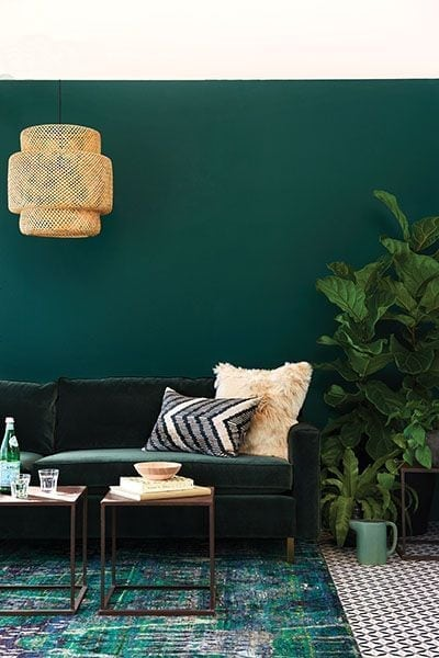Tone-on-Tone Decor | Emerald Green Living Room Inspiration
