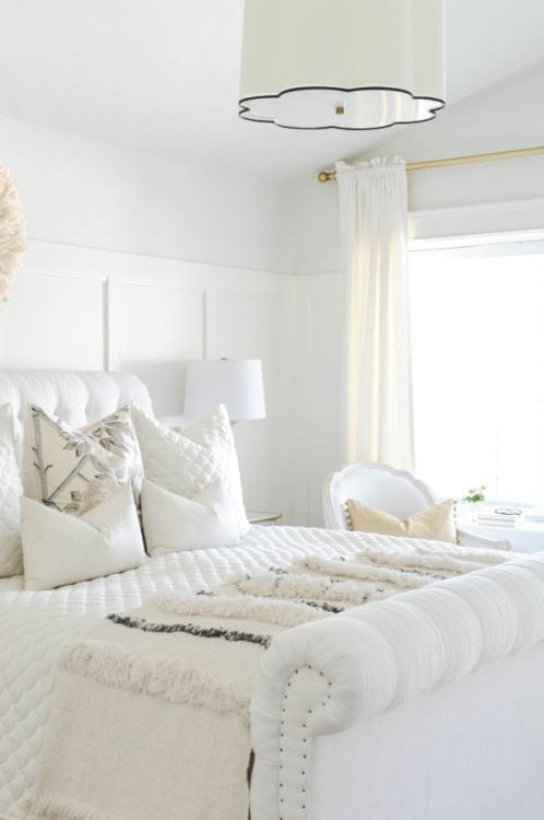 Tone-on-Tone Decor | All White Bedroom Inspiration