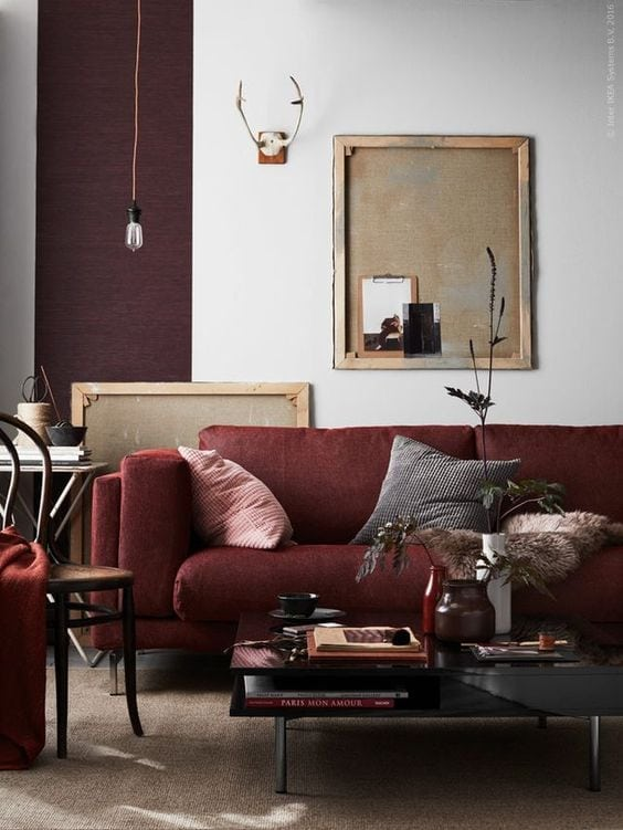Tone-on-Tone Decor | Maroon Living Room Inspiration