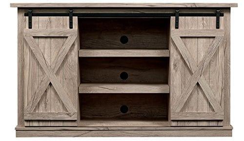 Farmhouse Vibes | Apartment Decor | Sliding Barn Door TV Stand
