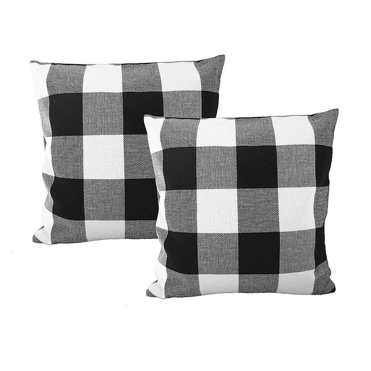 Farmhouse Vibes | Apartment Decor | Tartan Black and White Plaid Throw Pillows
