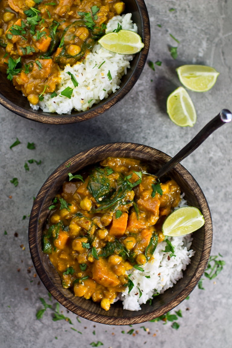 Protein-Packed Vegetarian Recipes | Vegan Sweet Potato, Chickpea & Spinach Coconut Curry