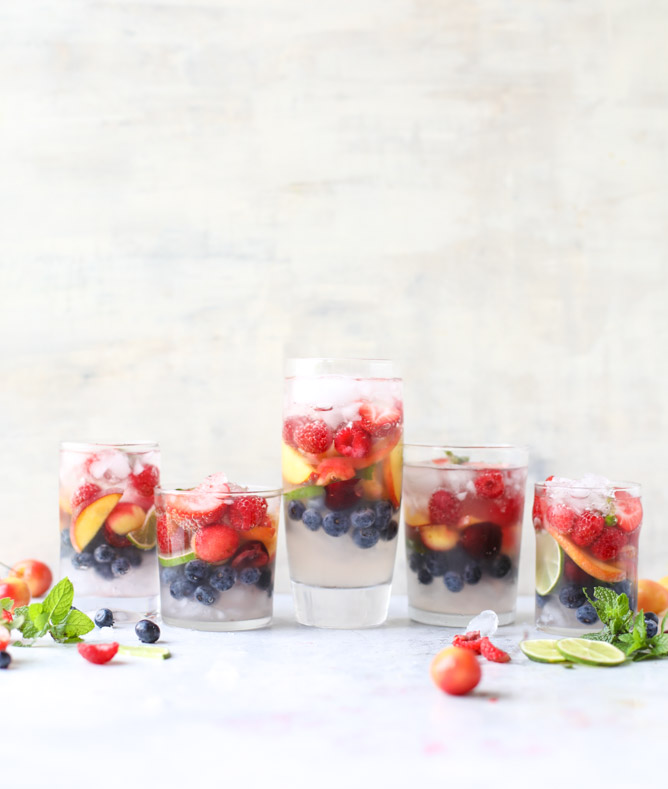 Mocktail Recipes | Rainbow coconut water spritzer